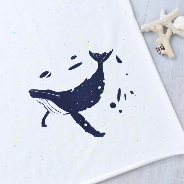 【アートパネル】クジラ 蛍光スプラッシュ(ベース生地:クラシック天竺)