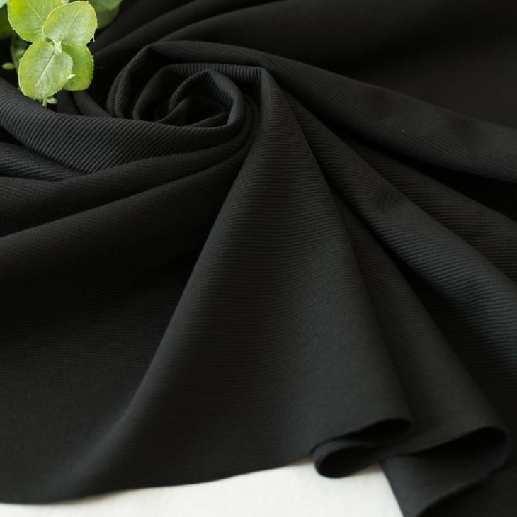 【ニット】シルケット加工40/-リップルストレッチニット(ブラック))