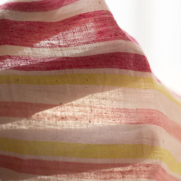 【布帛】インド綿マルチストライプ(レッド系)