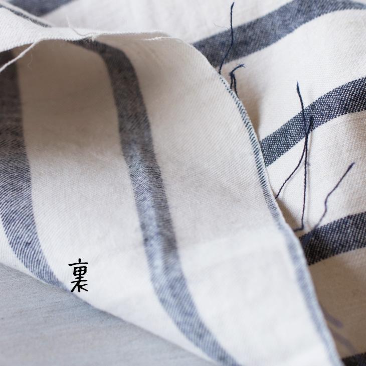 【布帛】綿麻ナチュラルボーダー(きなり×ネイビー)