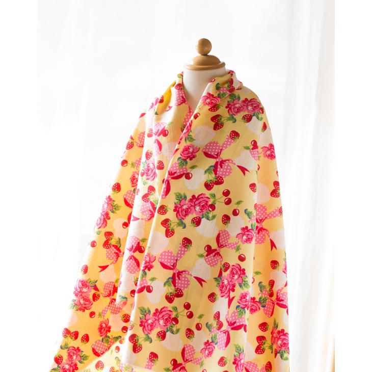 【布帛】コットンドビー・サザンクロス 花とリボン