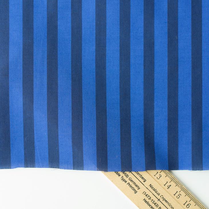 【布帛】ストライプ・ローン(ブルー×ネイビー)