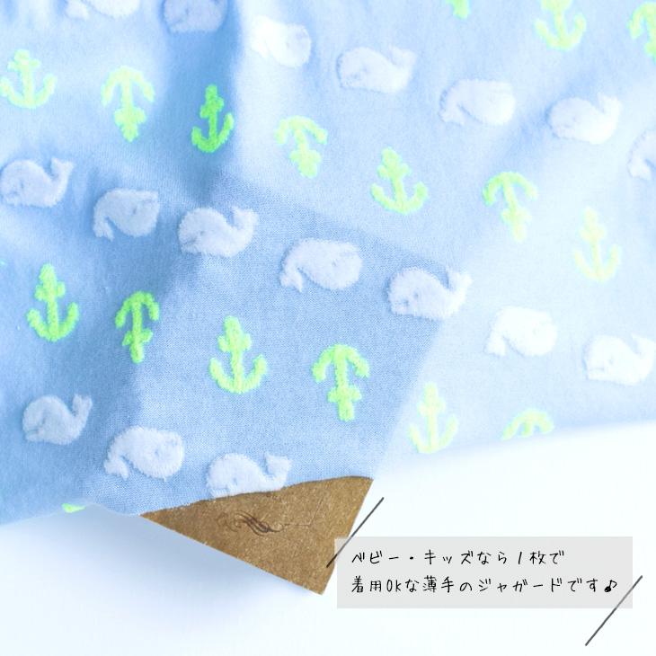 【ニット】イカリとクジラのパイルジャガード(ベース色:みずいろ)