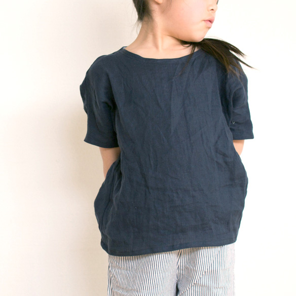 【布帛】やわらかふんわりリネン(濃藍/こいあい)